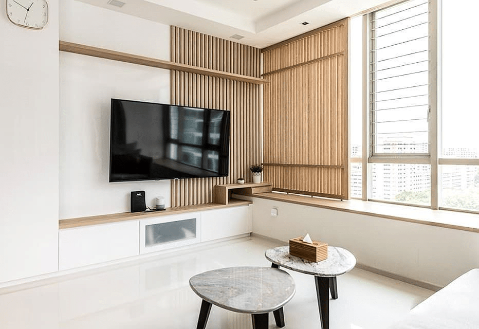 Muji inspired interior design with living slatted windows
