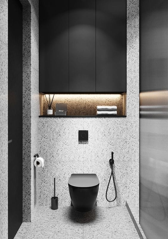 Built-in bathroom cabinet and built-in toilet