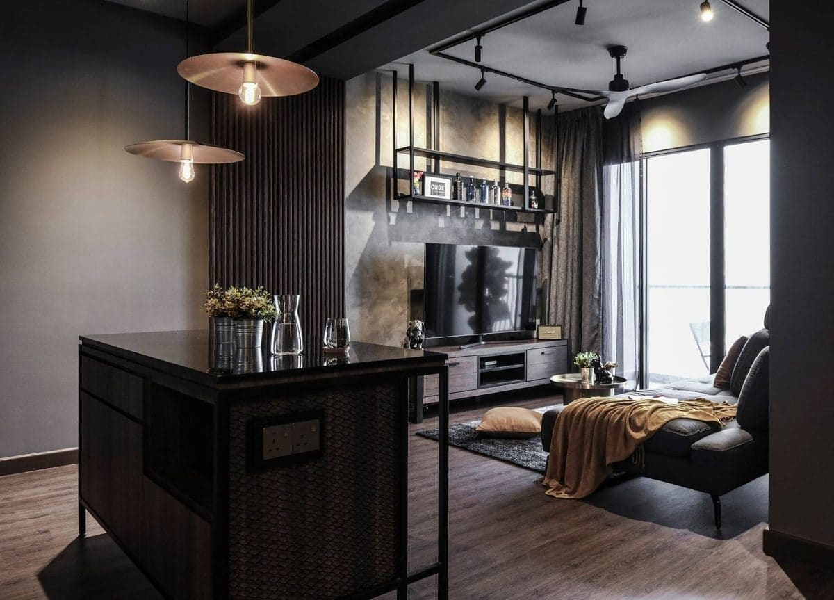 industrial interior design malaysia living room by cube asia design