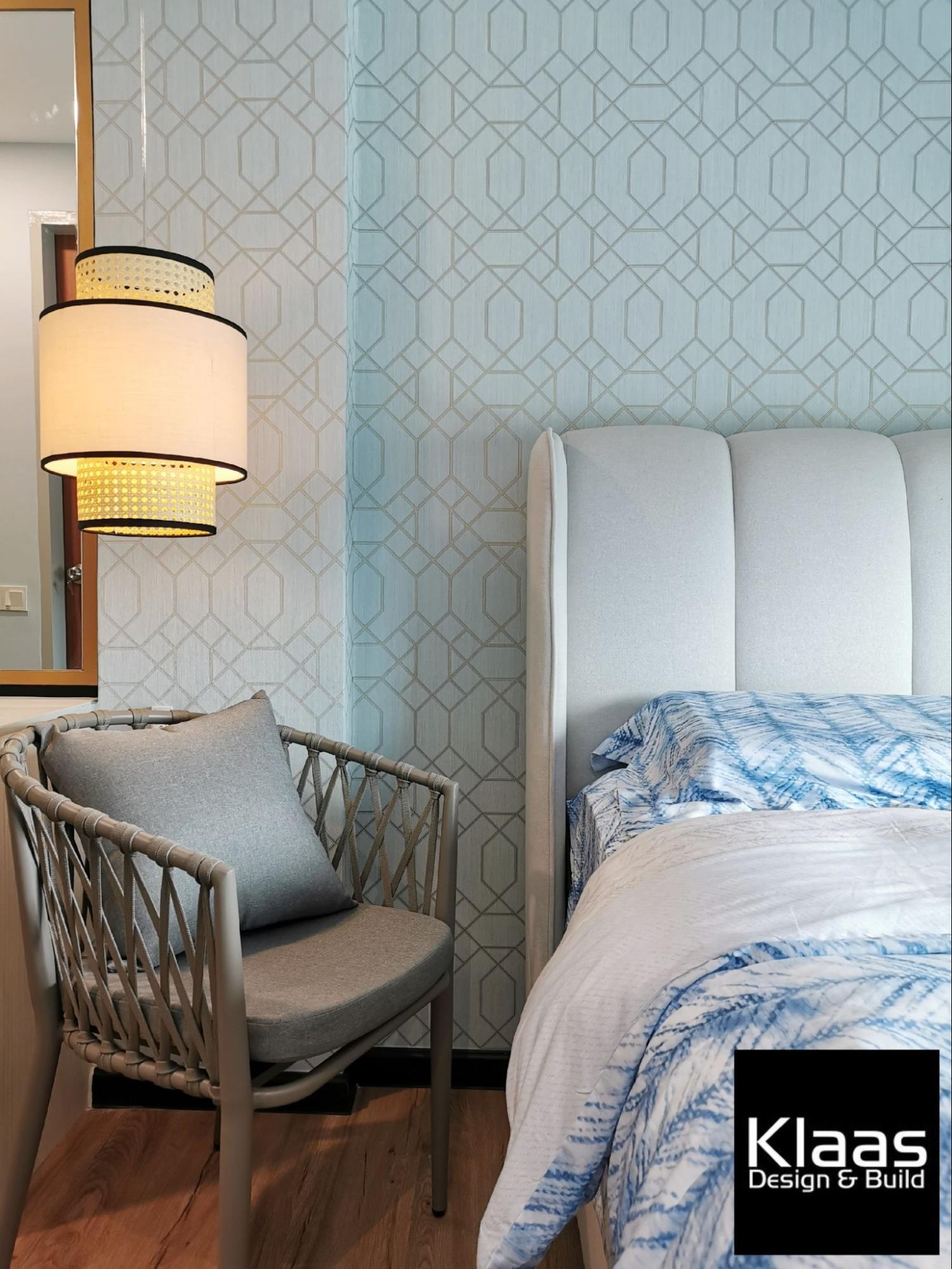 Close-up of bedside lamp in a blue bedroom
