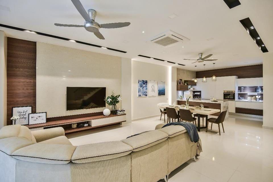 Neutral modern minimalist living room terrace home design