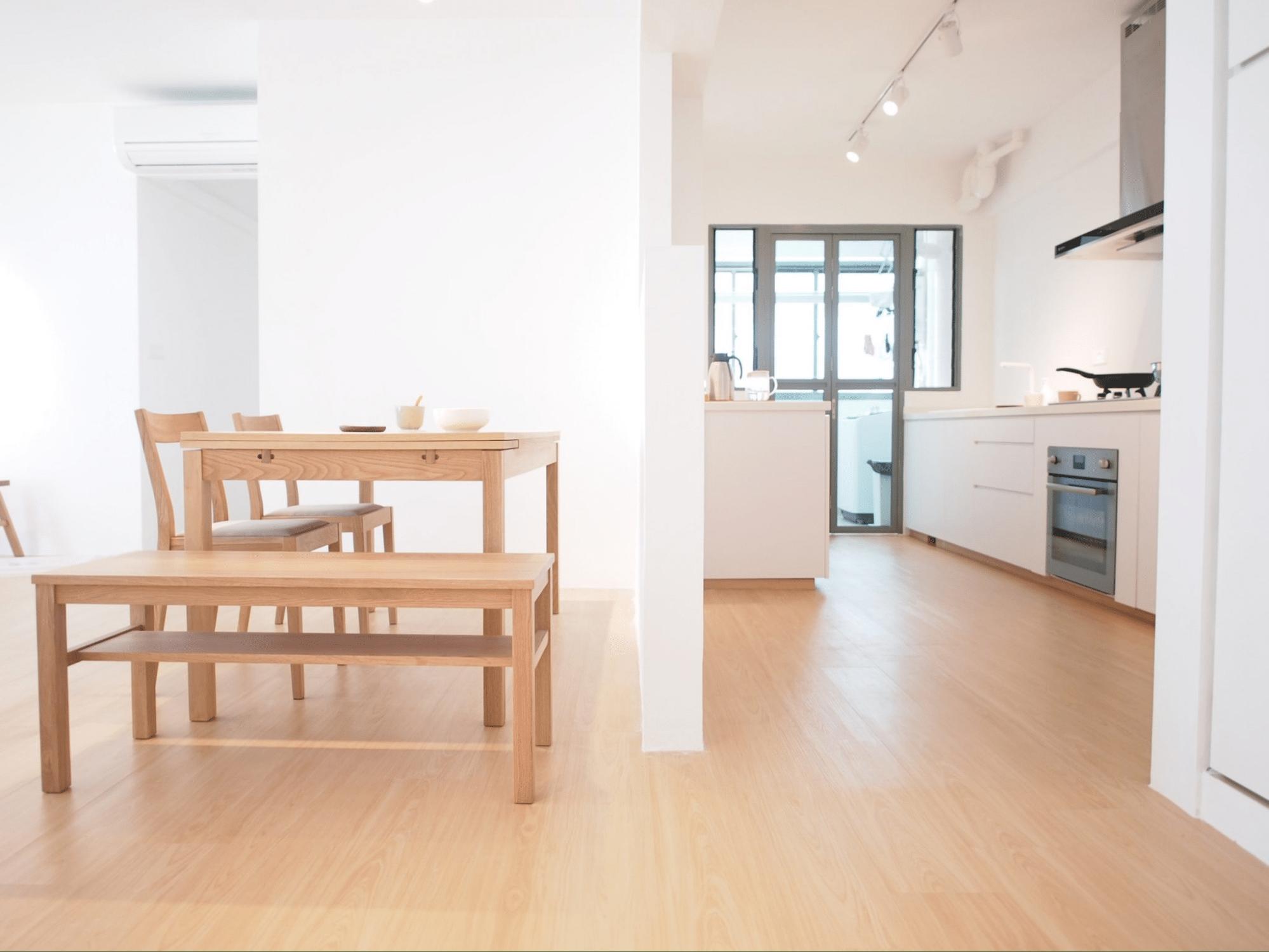 Muji inspired interior design with lightwood beige flooring