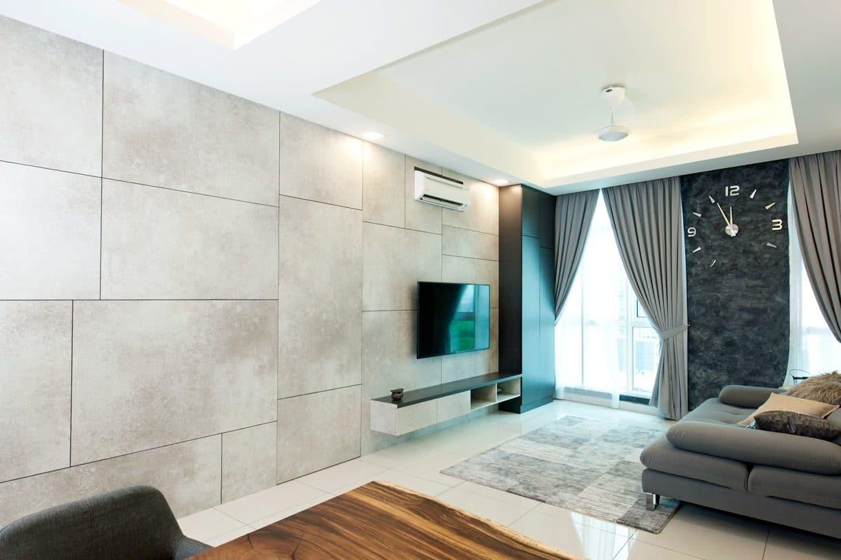 Rumah minimalis dalam warna kelabu cement