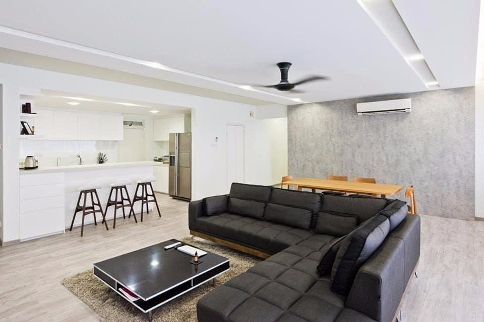 Ruang tamu dan dapur kering gaya minimalis
