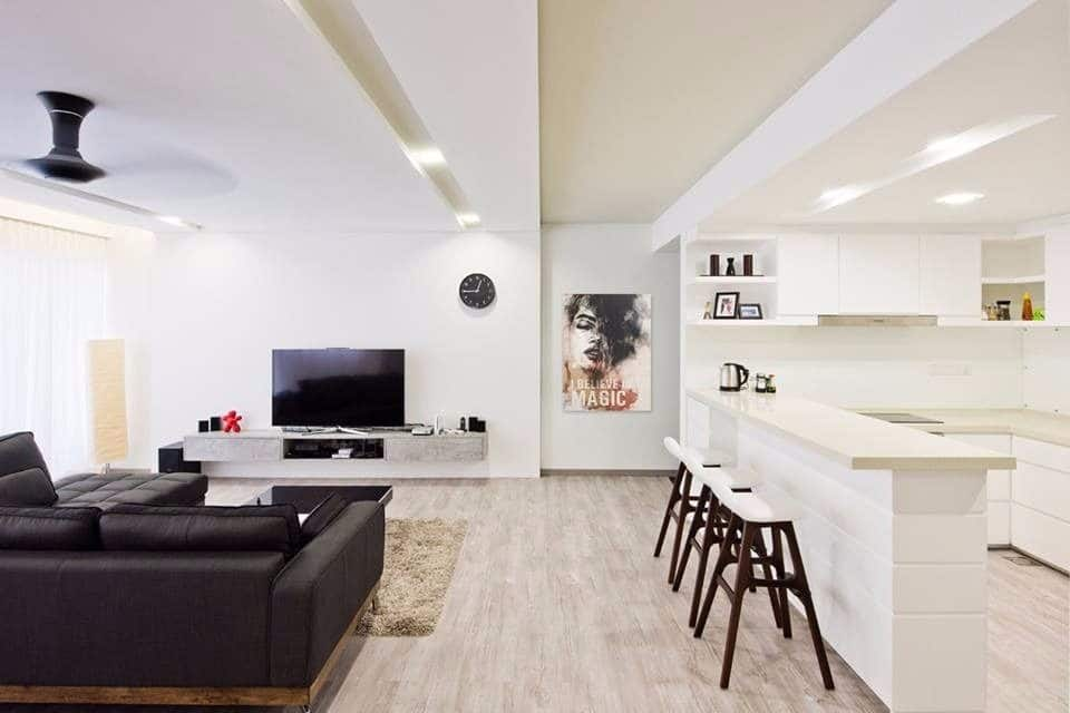 Ruang tamu dan dapur kering minimalis dengan konsep ruang terbuka