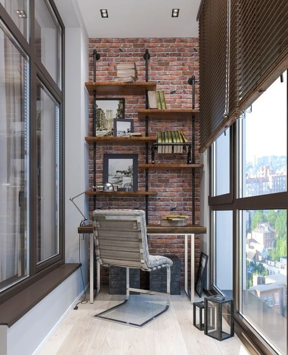 Industrial style balcony study makeover