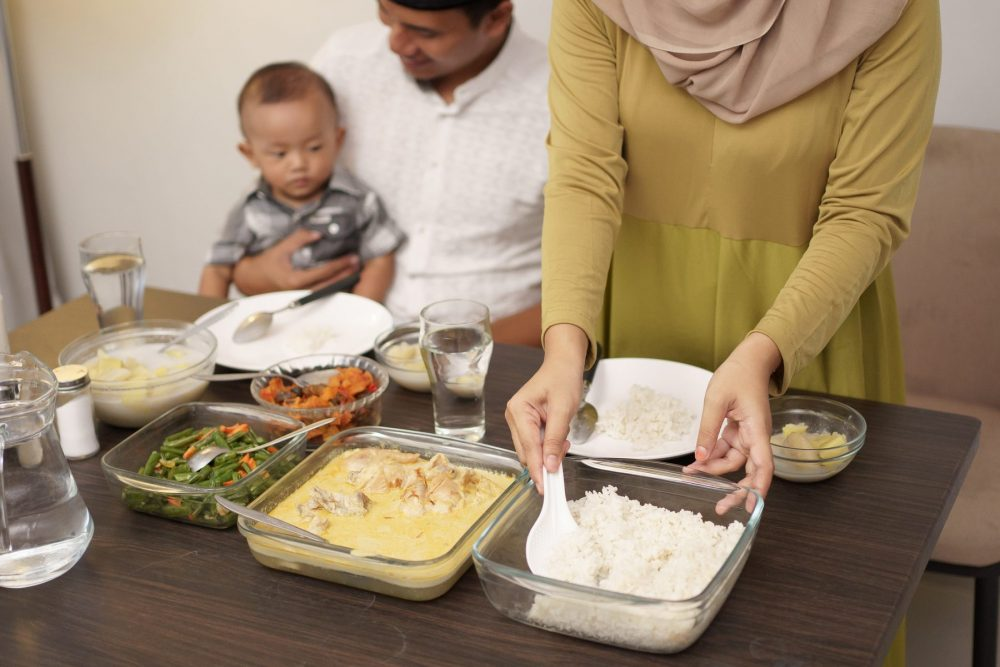 Family enjoys home cooked meal