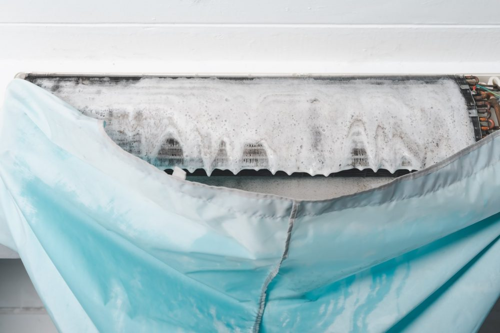 Above: Aircond chemical cleaning removes stuck on dirt and grime which could cause overheating