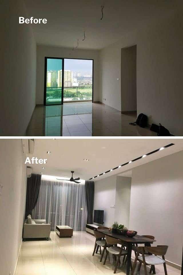 Ruang tamu condo di USJ dengan lampu bawah tersembunyi dan lamput trek tersembunyi