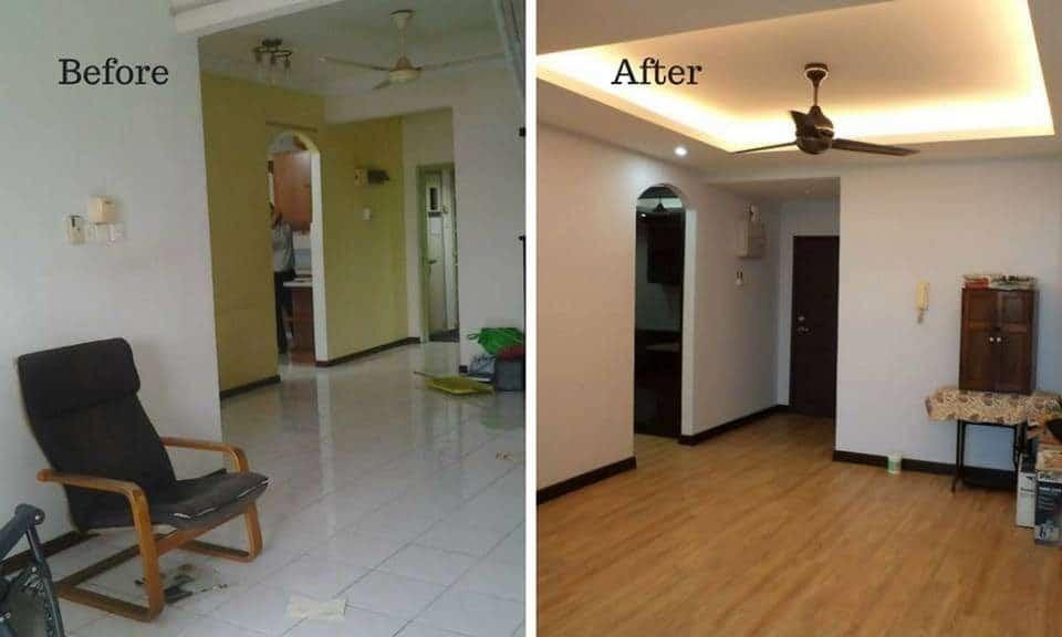 Sebelum dan selepak reka bentuk ruang tamu dengan lantai laminasi