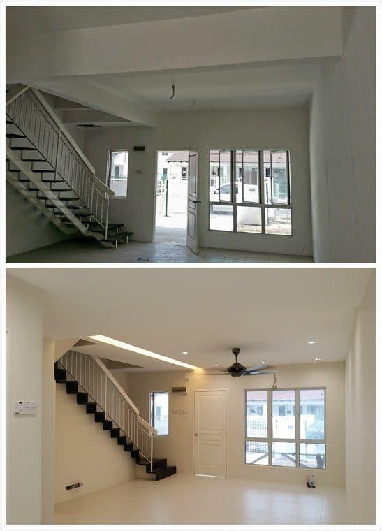 Ruang tamu dengan ruang simpanan tambahan di bawah tangga