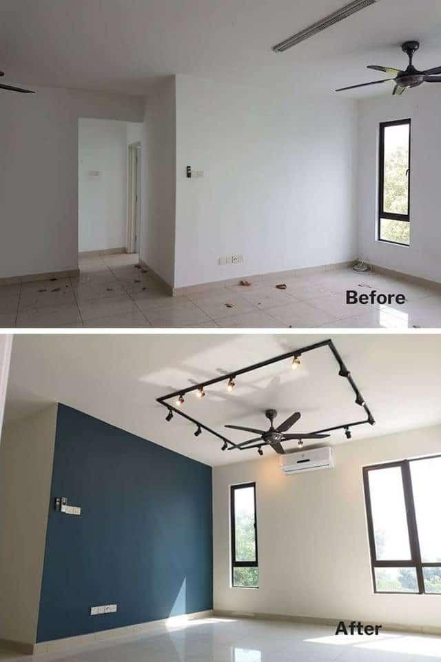 Ubah suai ruang tamu rumah di Puchong dengan lampu trek dan dinding ciri berwarna biru